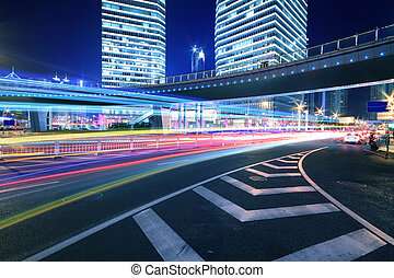 Rainbow overpass cityscape highway night scene in Shanghai -...
