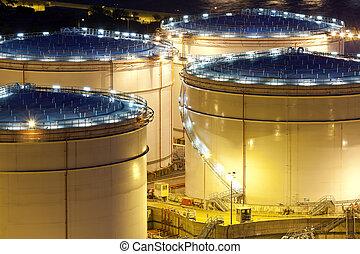 aceite, tanque, primer plano, noche