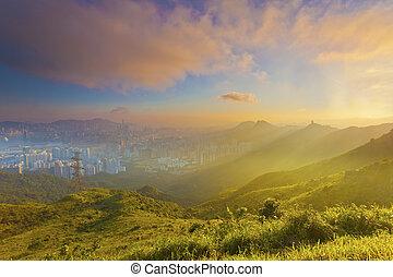 Sunset mountain in Hong Kong downtown