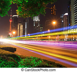 Far East city of Shanghai Lujiazui Holiday Night scenery
