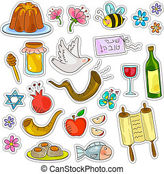 roah hashanah set - symbols of rosh hashanah jewish new year...