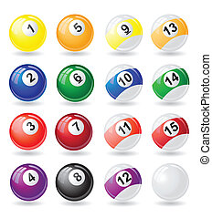 billiards balls vector illustration isolated on white...