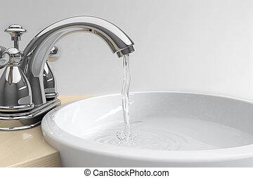 fregadero, agua, salpicadura