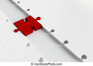Red puzzle piece as a bridge to white parts