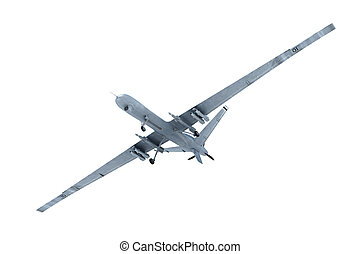 Military combat drone in the air isolated