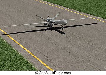Military combat drone on ground taking off