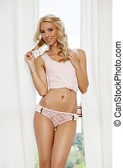 beautiful blonde in pink lingerie - Beautiful sexy young...