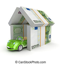 Green car under the roof of euro.