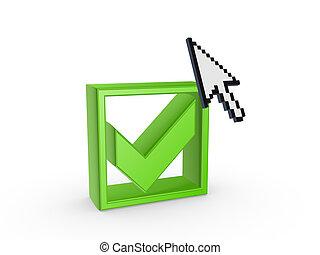 Cursor and green tick mark.