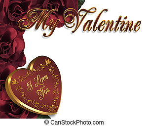 Valentines Day Heart Border - 3D Valentine illustration and...
