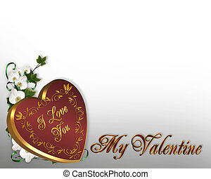 Valentines Day Heart Border orchids - 3D Valentine...