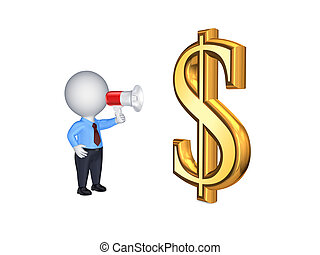 3d person with megaphone and sign of USD.