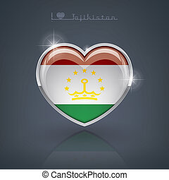 Tajikistan - Glossy heart shape flags of the Worlds:...