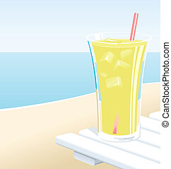 Lemonade - Cold glass of lemonade with ice, at the beach in...