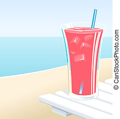 Fruit Punch - Cold glass of fruit punch or pink lemonade...