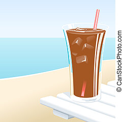 Soft Drink - Cold glass of cola or iced tea with ice, at the...