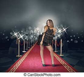 Celebrity on red carpet with photojournalist