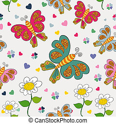 Spring seamless pattern - Spring time seamless pattern with...