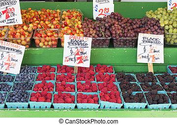 Bagas, legumes, tenda, exposição, frutas