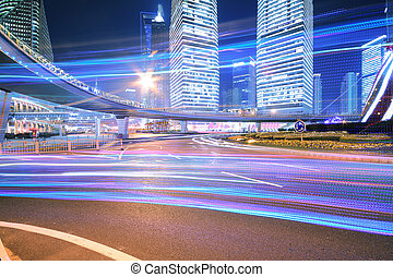 Dazzling rainbow overpass highway night scene in Shanghai -...
