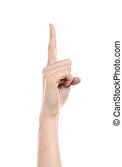 Side view of a woman hand gesturing number one isolated on a...