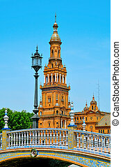 Plaza de Espana in Seville, Spain - a view of famous Plaza...