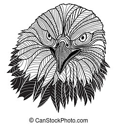 Bald eagle head as USA symbol for mascot or emblem design,...