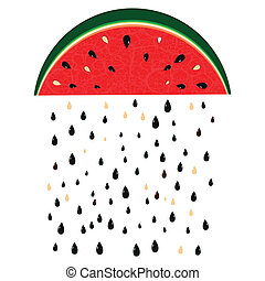 watermelon rain - Watermelon rain fresh slices background...
