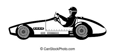 old sports car - illustration of retro formula 1 racing car