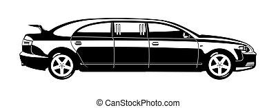 limousine - black and white illustration of limousine.
