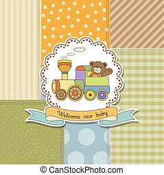 new baby announcement card with train toy, vector...