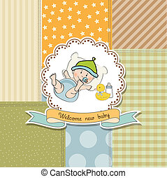 new baby announcement card with little baby boy, vector...