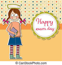 funny young student girl before exam