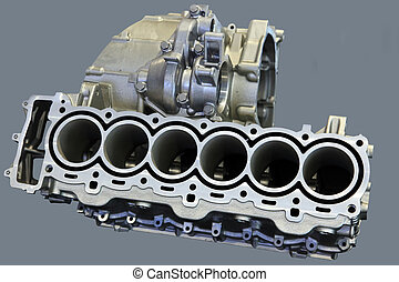 Part of car engine with the transmission in a rugged...