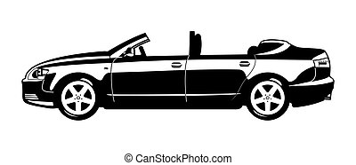 Convertible - black and white illustration of Convertible...