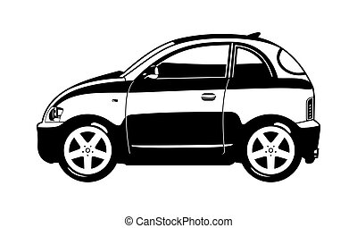 smallest car - black and white illustration of  microcar