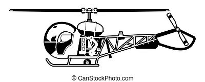 helicopter - black and white illustration of the small...