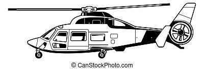 helicopter - illustration of passenger  helicopter.