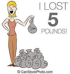Woman Dropping Pounds - An image of a woman dropping pounds...