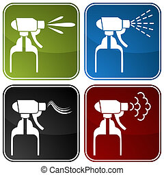 Spray Bottle Icons - An image of spray bottle icons.
