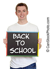 teen boy back to school sign - isolated teen boy back to...