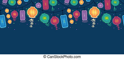 Glowing lanterns horizontal seamless pattern border - Vector...