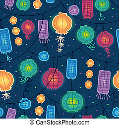 Glowing lanterns seamless pattern background - Vector...