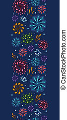 Holiday fireworks vertical seamless pattern background