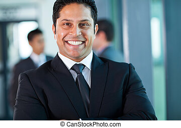 indian businessman close up portrait - close up portrait of...