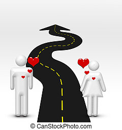 Couple in love and road