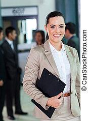 incorporado, trabalhador, jovem, escritório, atraente