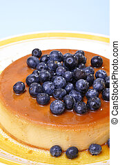 Blueberry flan - Vertical shot of delicious flan cheesecake...