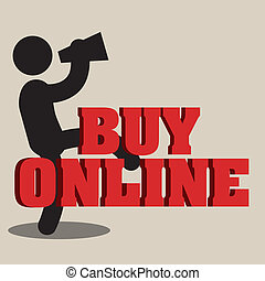 buy online text with man on light brown background