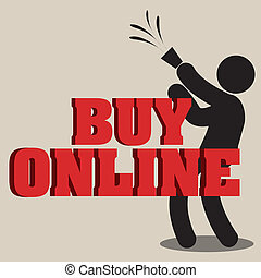 buy online man celebrating on light brown background